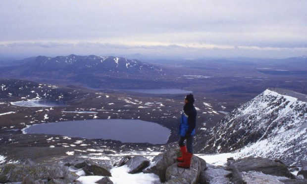 Martin Moran on top of his little world as he climbed the Munros in winter.