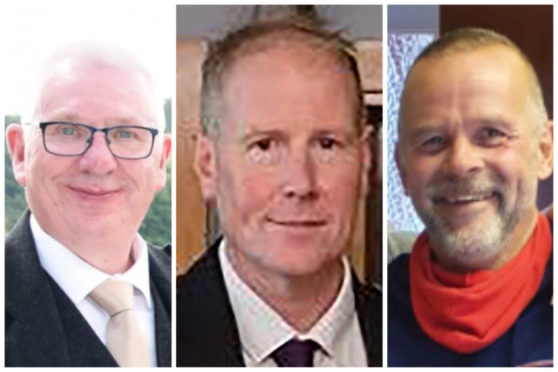 Left to right: Donald Dinnie, Brett McCullough and Christopher Stuchbury