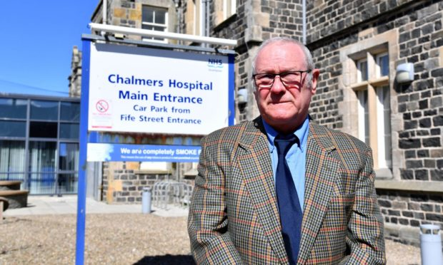 Banff and Macduff Community Safety Group chairman Richard Menard outside Chalmers Hospital.