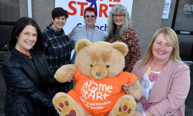 Representatives of Home Start's branches across Aberdeenshire have been celebrating the good news that actor Peter Mullen has become their first patron. Pictured are from left, front, Leah Bruce, Julie Cooper and looking on are from left Carol Fulton, Melinda Stewart and Mhairi Philip. Picture by Chris Sumner.
