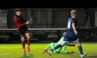 Kieran Shanks scoring to put Inverurie 2-1 ahead against Turriff in the Aberdeenshire Cup. Pictured by Darrell Benns