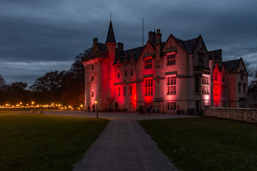 Brodie Castle is lit up with a light show on the castle and grounds to generate extra income over Winter and through the covid period.
