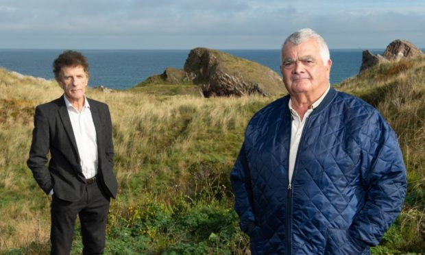 Businessman Sandy Laing, pictured right, and architect Ian Sutherland McCook at Bow Fiddle Rock.