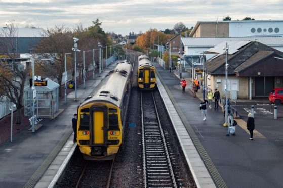 ScotRail services at Elgin train station.