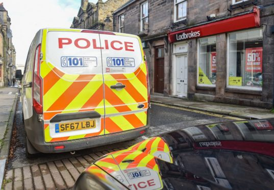 Ladbrokes on Mid Street in Keith  with police presence.