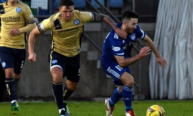 Forfar's Ross Meechan and Peterhead's Steven Boyd. Picture by Kenny Elrick