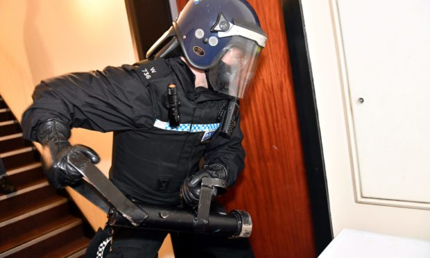 Police in Aberdeen during an early morning drugs raid.