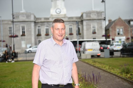 Inverurie BID manager Derek Ritchie at the town hall car park. Picture by Paul Glendell