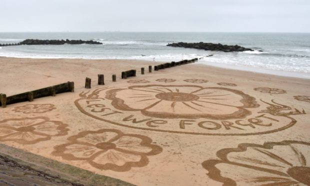 Sand art at Aberdeen Beach to mark Remembrance Sunday