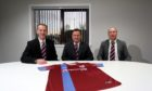 Keith Football Club's new management team: Andy Roddie, Andy Troup (Chariman), and Tommy Wilson.