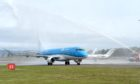 A KLM plane at Inverness Airport as the airline launched its new flights in 2016. Picture by Sandy McCook