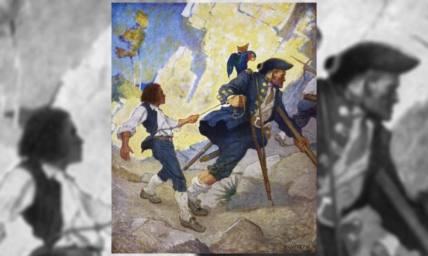 A scene from Treasure Island by Robert Louis Stevenson illustrated by NC Wyeth.