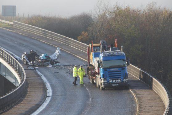 A9 crash. Photo: Robert MacDonald/Northern Studios.
