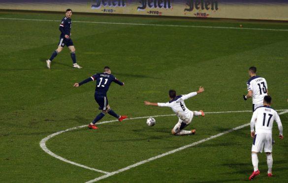 Scotland's Ryan Christie scoring the opening goal during the UEFA Euro 2020 Play-off Finals match at Rajko Mitic Stadium, Belgrade.