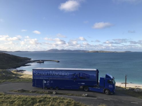 Emergency Scottish government funding of £3.55 million has secured the immediate future of 30 independent cinemas, including the Screen Machine mobile cinema, seen here on Eriskay.