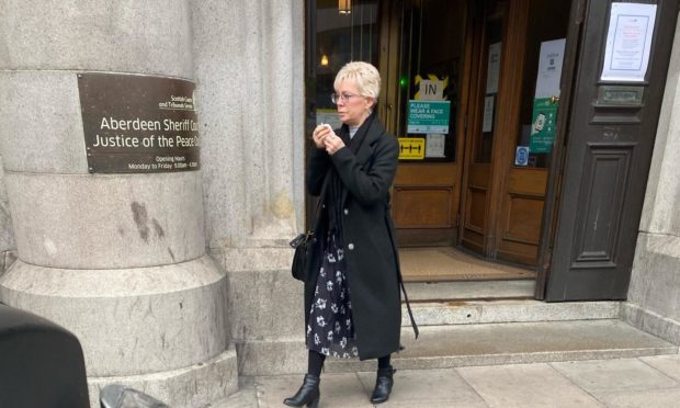 Susan Allan leaving Aberdeen Sheriff Court.