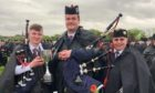 Turriff Pipe Band pipe sergeant Owen Chalmers, pipe major Andrew Gray and the late John Lawson.