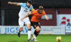 Ross County's Iain Vigurs and Peter Pawlett in action at Tannadice