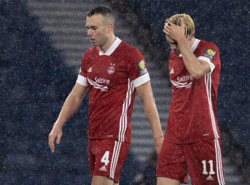 Aberdeen's Andrew Considine (left) and Ryan Hedges at full-time