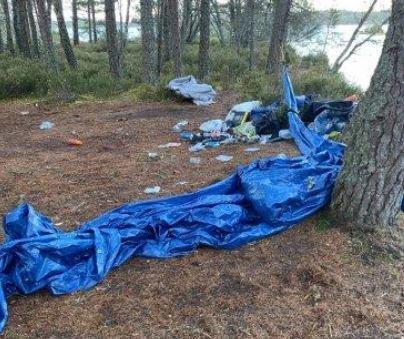 Wild campers left rubbish behind at Loch Morlich.