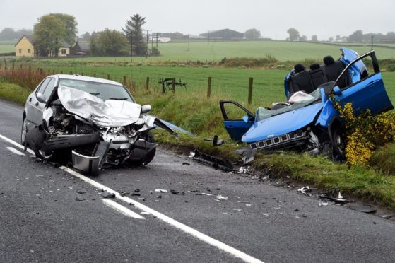 The two cars following the collision in 2019. Picture by Jim Irvine