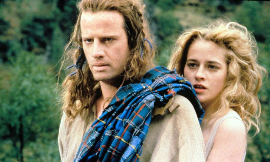 Accent on action... Christopher Lambert and Beatie Edney in a scene from Highlander.