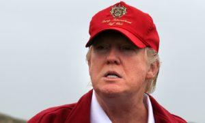 Donald Trump  on  the Trump International Golf Links golf course near Aberdeen