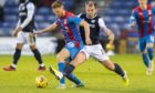 Inverness' Scott Allardice (left) holds off Dundee's Paul McGowan during a Scottish Championship match.