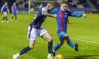Cameron Harper, right, in action against Dundee.