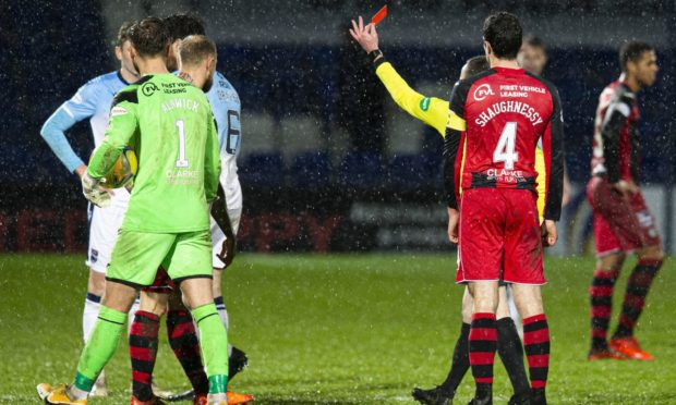 Ross Draper is shown a red card by referee Colin Steven during Saturday's home defeat by St Mirren.