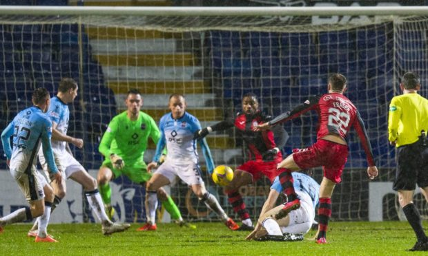 St Mirren's Marcus Fraser makes it 1-0 during the Scottish Premiership match between Ross County and St Mirren at the Global Energy Stadium on December 26.