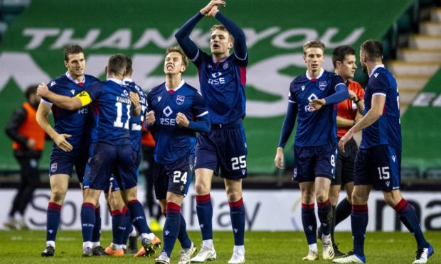 Ross County players celebrate.