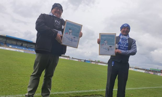 Finlay Noble, chairman of Fraserburgh FC, with Martin Johnston, general manager of Peterhead FC.