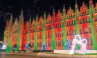 The light display outside Aberdeen's Marischal College