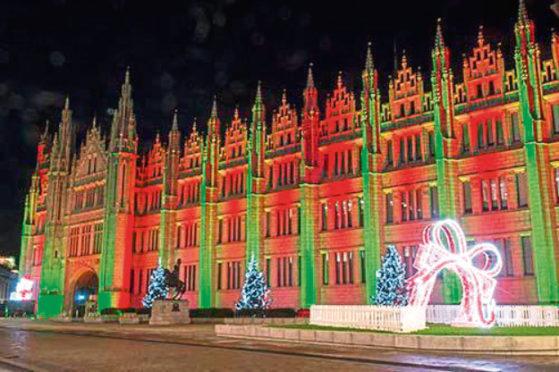 The light display outside Aberdeen's Marischal College