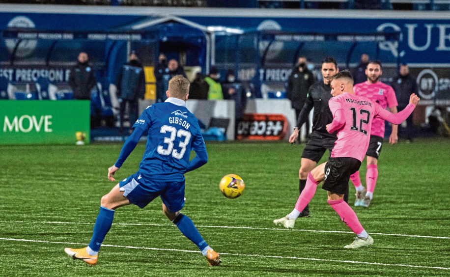Roddy MacGregor nets for Caley Thistle against Queen of the South.