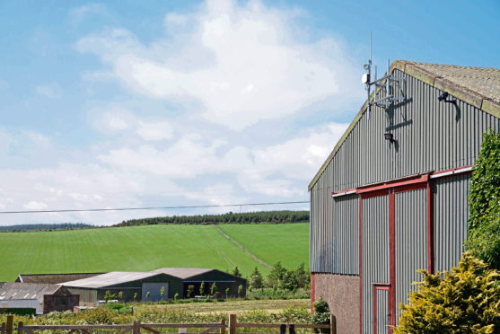 A base station on a farm building for LoRaWAN technology.