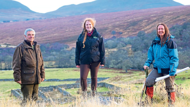 Ken Greenland, Helen Webb and Sarah Toulson on the Sutherland estate.