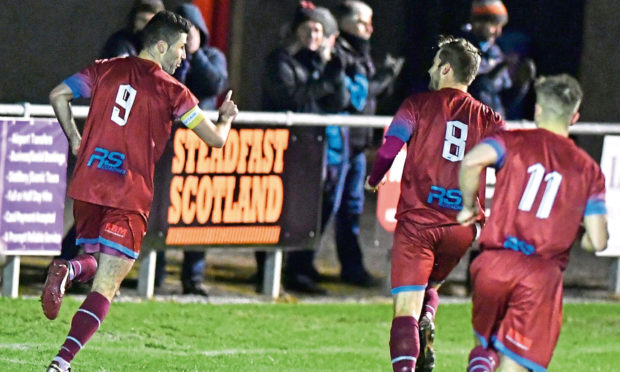 Cammy Keith, left, netted his 350th Highland League goal. Picture by Chris Sumner