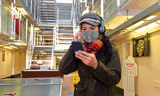 Gayle Ritchie inside Peterhead Prison Museum.