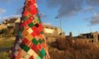 The crochet Christmas tree in Castlebay., Barra.