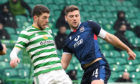 Iain Vigurs, right, battles with Ryan Christie.