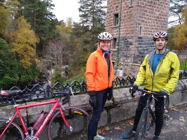The pair arrive at Glen Tanar on their lengthy cycle along the middle reaches of the Dee.
