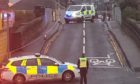 Emergency services at Fort Street rail bridge, Broughty Ferry.