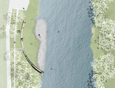Detailed designs for the controversial Gathering Place public art project have been approved Picture shows; Illustration of The Gathering Place by the River Ness, from above