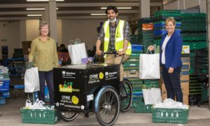 Cfine have delivered 1,250 additional emergency food  parcels with an electric cargo bike.