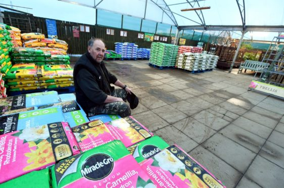 Gordon Henderson of  Foxlane Garden Centre in the space where his stock once sat.