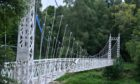The Cambus O'May suspension bridge damaged during storm Frank in 2015.