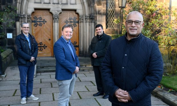 Faith on the rise? Church ministers from across the presbytery of Aberdeen & Shetland have reported a surge in interest from people seeking meaning amid the most turbulent year since the Second World War. Pictured are, from left, Ian Aitken (Stocket Hill Church), Manson Merchant (Dyce Parish Church), Robert Smith (Rubislaw Parish Church) and Duncan Eddie (Holburn West Church) at Rubislaw Parish Church.