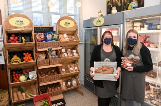 Michelle Clark with daughter Isla Clark at Kemnay Farm Shop, Kemnay. They have been given planning permission for a new coffee shop / bistro to be built.  Pictured by Darrell Benns Pictured on 23/12/2020